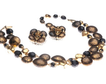 Brown Gold Foil Double Strand Necklace  Earrings Mid Century Set Fall 1960s