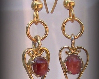 Vintage Heart Earrings made from a vintage bracelet, gold toned with rusty red glass stones.