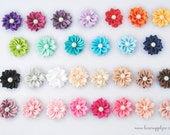 PETITE Satin Kanzashi Flowers with a Faux Pearl Center - Mini Satin Pinwheel Flowers - YOUR CHOICE of 29 Colors - You Choose the Quantity!
