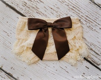 Autumn Lace Bloomer - Antique Ivory Lace Ruffle Bum Bloomer with Brown Satin Bow - Newborn Photo Prop