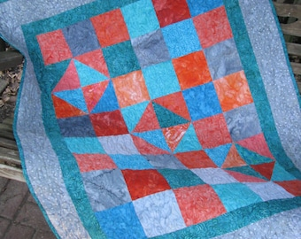 Baby Quilt - Batik Baby Boy Quilt - Geo Patchwork in Gray, Turquoise and Orange