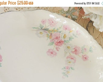 On Sale Homer Laughlin Virginia Rose Platter Cottage Style Farmhouse China Vintage French Decor Shabby Chic Wedding Serving Ca. 1935 K35 N5