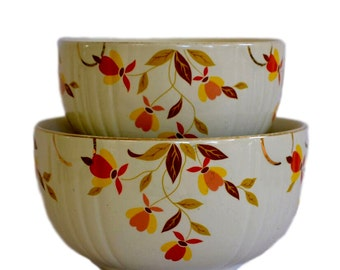 S/2 Hall Autumn Leaf Mixing Bowls, Small and Medium