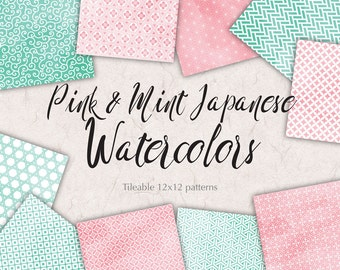 Pink Mint Digital Paper Pack Watercolor Patterns Mint Pink Digital Background Japanese Papers Wedding Graphics Commercial Use
