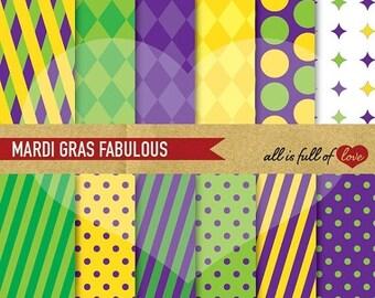MARDI GRAS Paper Digital Paper Green Purple Yellow Background Patterns Printable Scrapbook harley quinn pattern Carnival background
