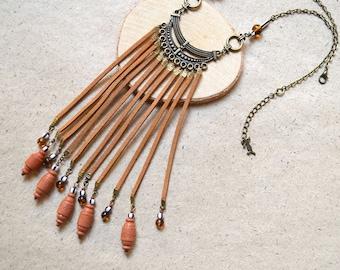Long Fringes Necklace - Boho Style - Handmade