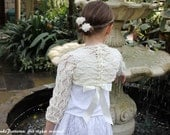Knitting pattern - Girls Lace Shrug with ribbon 1 - 12years  - Listing62