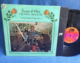"RARE, Vintage, Sonny & Cher - ""All I Ever Need Is You"" Vinyl LP Record Album, Original 1965 Press, A Cowboys Work Is Never Done, Muddy Water"
