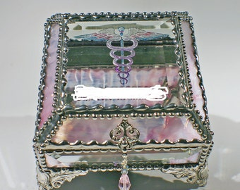 Medical Emblem Carved Glass Jewelry Box -  Faberge Style