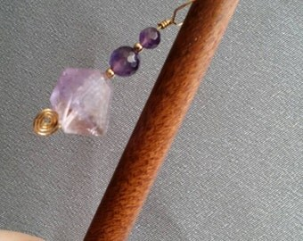 Hair Jewelry, wood hair stick, faceted Amethyst gems, gold filled wire wrap (#1210)