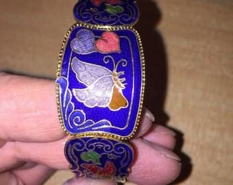 Enamel and Goldtone Bangle Bracelet