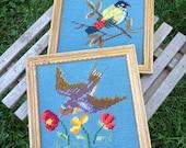 Pair of Framed Vintage Bird Needlepoint in Square Wood Frames
