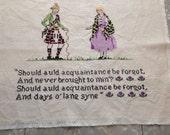 """Vintage Cross Stitched Scottish """"Old Lang Syne"""""""