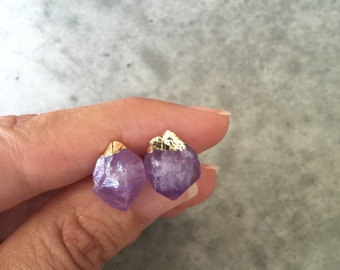 Amethyst gold dipped earrings, Amethyst Crystal jewelry, Druzy earrings, February Birthstone