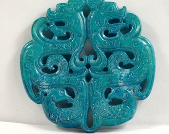 Antique Style Large Carved Blue Jade Prosperity brought by the dragon and the Phoenix Amulet Talisman Jade Pendant for your handwork jewelry