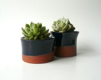 Ceramic Succulent Planter, Cactus Planter, Office Decor, Ceramic Bowl, Ceramic Cup, Organic Shape in Dark Blue and Brown by Cecilia Lind