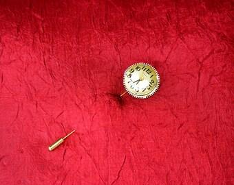 Brass Gear with Brass Watch Face Cravat Pin - Stick Pin - Lapel Pin