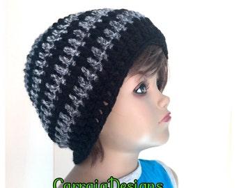 Boy, toddler, 2-3,4-6, 6-8,8-10 years,hand crochet hippie beanie,unique designer,kids hats,black grey winter beanies,irish designer cap hand