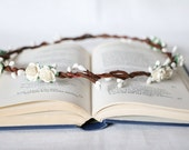 ivory white flower crown bridal halo wedding hair accessories floral headband boho simple hair accessories