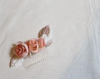 pink ranunculus hair comb accessories hairpiece fascinator woodland floral comb bridal velvet leaves flowers roses