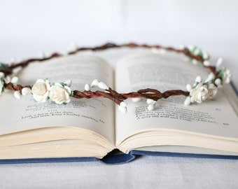 White flower crown bridal halo wedding hair accessories floral headband boho simple hair accessories
