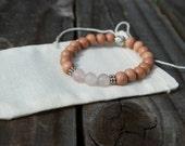 Rose Quartz Bracelet- Bracelet- mala- bead bracelet- rosewood- rosewood bracelet