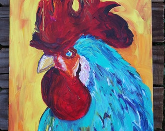 Rooster Kitchen Decor-Rooster Decor- Rooster Painting- Painting- Acrylic Painting- Original Rooster Painting