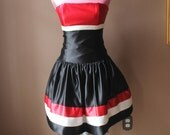 Vintage 80s 90s Jessica McClintock Red Black and White Party Homecoming Dress