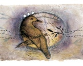 bird in Purple - Tea Bag Art
