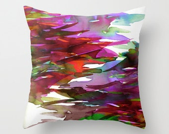 FERVOR 3 Autumn Red Purple Fuchsia Watercolor Painting Art Throw Pillow Cover 16x16 18x18 20x20 Square, Fall Colorful Nature Floral Abstract