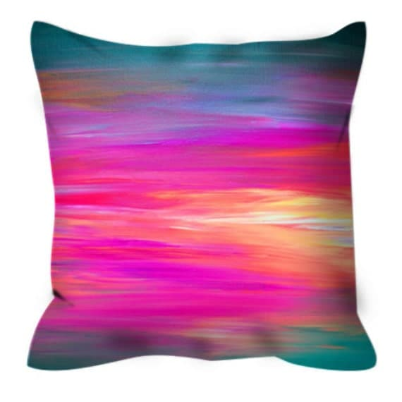 Blue Microsuede Throw Pillows : BRIGHT HORIZONS 2 Abstract Rainbow Stripes Pattern Art Suede