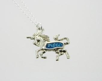 Turquoise Silver Unicorn Necklace