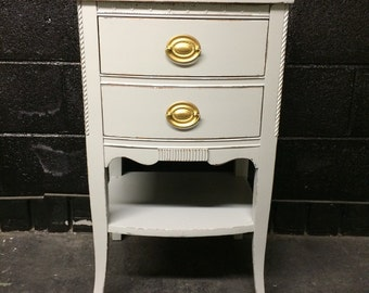 Vintage Pale Gray Night Table