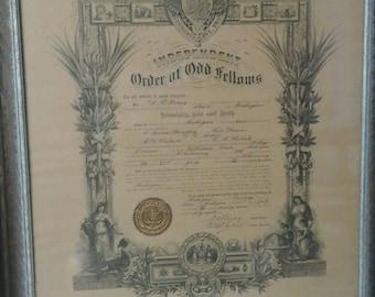 Antique Odd Fellows IOOF document historical founding document Kilwinning lodge 299 Jerome Michigan Odd Fellows 1877 in original frame