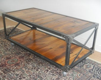 Industrial Style Riveted Steel And Reclaimed Wood Coffee  Table.Rustic/Primitive/Loft Decor