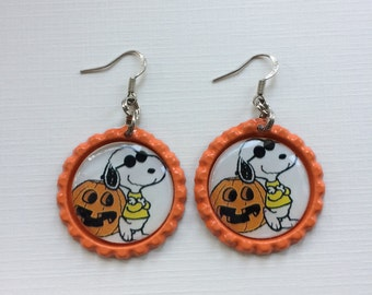 Halloween Earrings, Snoopy Halloween Earrings, Snoopy Joe Cool Earrings, Orange Pumkin Snoopy Earrings, Orange Halloween Dangle Earrings