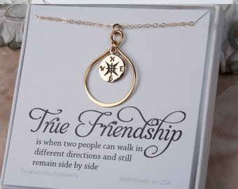 Gold compass necklace,Infinity compass necklace,small compass,Friendship necklace,Graduation gift,best friends,bridesmaid gift,sister gift