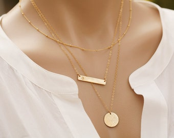 Set of three,Silver or gold,Personalized  bar Dainty Beaded Satellite Chain necklace,Long layer disc dot necklace,Initial Pendant Necklace