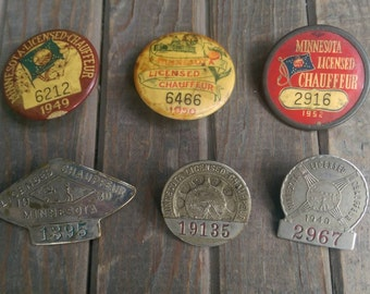Instant Collection of 6 Minnesota Chauffer Licenses 1930s 1940s 1950s
