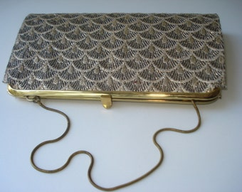 Gold Purse -  Golden Fabric Clutch Bag -  Evening Handbag Clutch - Armstrong and Richardson - 1950s