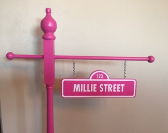 Bright Pink - Personalized Sesame street inspired street sign - double sided - personalized - birthday/room decor - photo prop