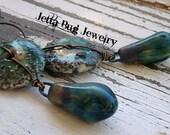 Mystic Isle- artisan ceramic drops. ceramic sandy discs. sea blue green.  sandy textural earrings. ocean inspired jewelry. Jettabugjewelry