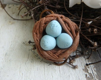 Minature Nest- ONE polymer clay charm wire connectors. robin egg blue.  brown twigs. rustic woodland bird nest. Jettabugjewelry