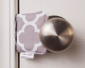 The Original Cushy Closer Door Cushion - Gray & White Quatrefoil  - Door Latch Cover