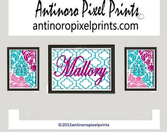 Art Print Damask Wall Prints Collection (Featured in Turquoise Teal Pinks)  -Set of (3) Prints - Blue Pink (UNFRAMED)