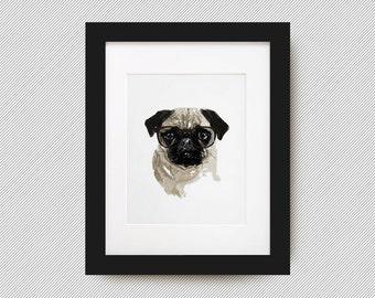 Pug Portrait Print