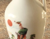 Mid Century Ewer Hong Mei Dairen China, Asian rice wine vinegar jug, vintage Asian peacock vase, hand painted, backstamped trademark pitcher