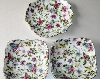 Vintage Chintz Bowls. cottage chic bowls, decorative floral bowls, Victorian style dishes, set of 3 pink floral sauce bowls, flowered bowls