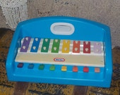 Vintage Little Tykes Xylophone Tap A Tune Blue Piano 1985 Toddler Preschool Toy