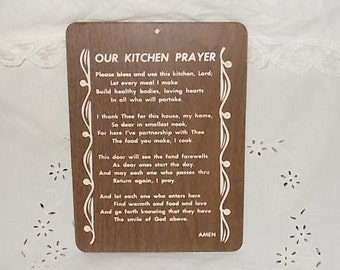 Our Kitchen Prayer Wood Wall Hanging, Kitchen decor, Country Decor, Farm house Decor, Vintage Home Decor, Home Decor,  :)s